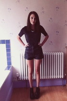 black H&M boots - black leather vintage shorts - black Dorothy Perkins top