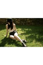 black black leather H&M boots - black black H&M hat