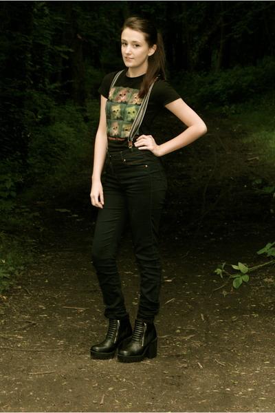 black H&M boots - navy dark denim unknown jeans