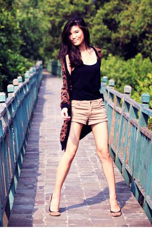 dark brown Zara cardigan - light brown sass & bide shorts