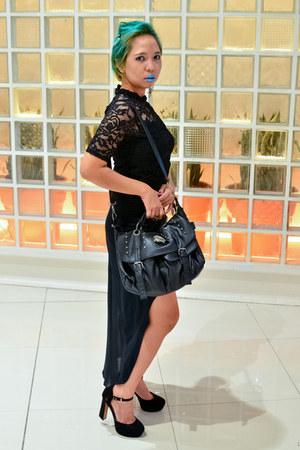 black genevieve gozum skirt - black lace h&m divided top - black H&M heels