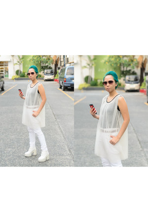 white chiffon sheer Archives MNL top - white H&M boots - white Uniqlo jeans