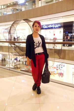 black Petite Zombie shoes - ruby red Terranova jeans - black Terranova bag