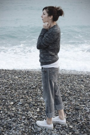 charcoal gray H&M jumper - silver Levis jeans - white Converse sneakers