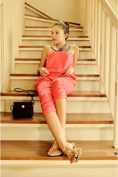 black Beverly bag - black romwe sunglasses - carrot orange hongkong brand romper