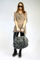beige alternative shirt - black Seventh Door leggings - gray Seventh Door purse