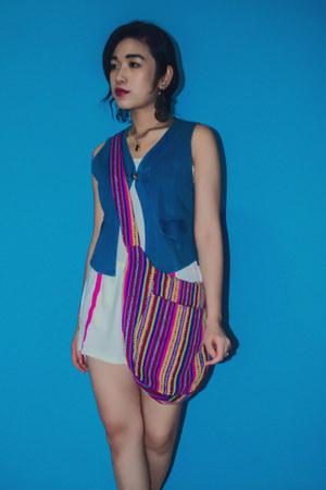 white Gap romper - amethyst flea market bag - blue vintage vest