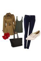 brown Topsop coat - green Freia shirt - blue acne jeans - beige Kimchi shoes - b