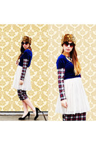 top - poofy tulle dress - midi plaid dress - hat