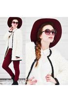 crimson kling hat - crimson SimplyVera leggings - heart hoops asos earrings