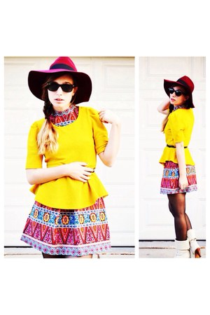 yellow Forever21 blouse - ivory random boots - asos dress