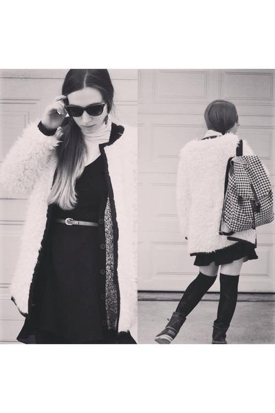 modcloth coat - black LL Bean boots - modcloth bag