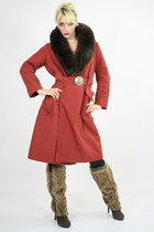 ruby red long wrap coat
