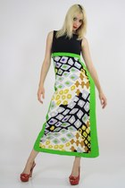 chartreuse abstract print dress