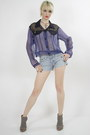 Denim-shorts-sheer-blouse
