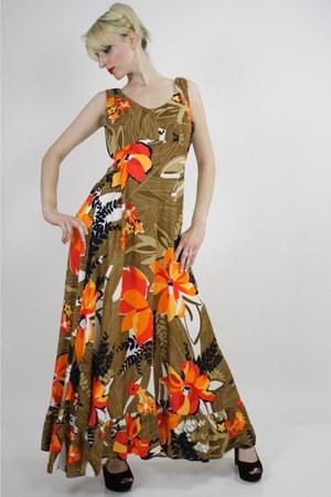 camel floral print dress