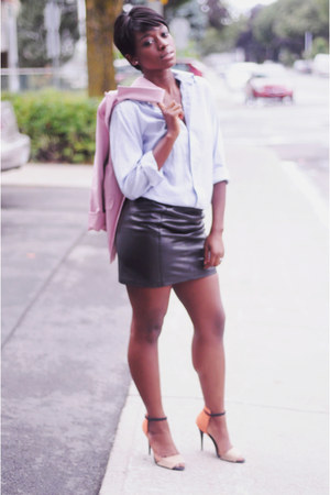 periwinkle shirt - bubble gum blazer - black skirt