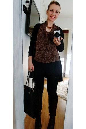 H&M top - DinSko boots - Tally Weijl bag - GINA TRICOT bracelet