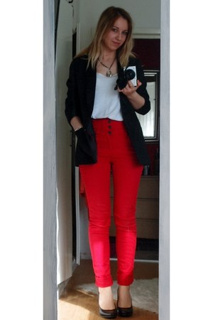 black H&M blazer - white New Yorker top - red Vero Moda pants