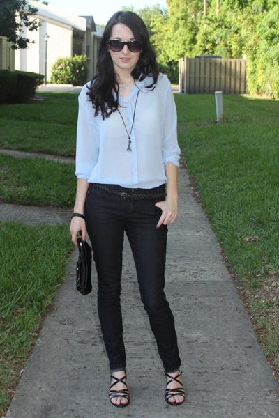 light blue sheer old navy blouses black forever 21 jeans boy ish