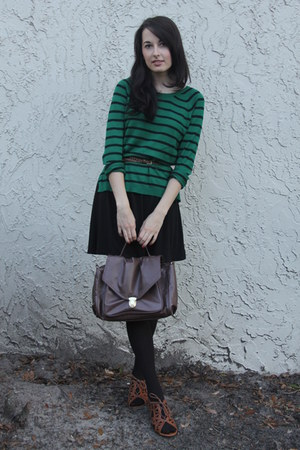 green stripes Forever 21 sweater - black cotton dress