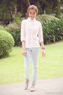 Light-blue-cotton-human-jeans-white-button-down-paper-dolls-shirt