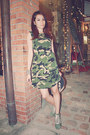 Silver-raga-titan-watch-army-green-camouflage-forever-21-dress