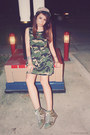 Army-green-camouflage-forever-21-dress-silver-cuff-and-sm-accessories-ring