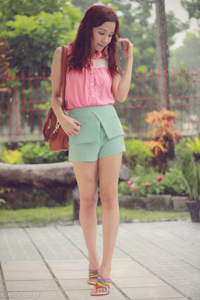 burnt orange shoulder sm accessories bag - light blue flap Betty shorts