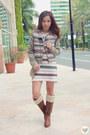 Bronze-knee-high-wedge-kohls-boots-beige-striped-knit-blind-clothing-dress