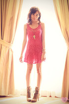 light brown lace up Call it Spring boots - hot pink crochet Lhasa dress