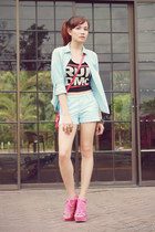 light blue giordano shirt - light blue summer giordano shorts