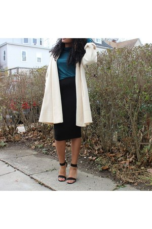 ivory long coat coat - black strappy heels shoes - teal turtle neck shirt