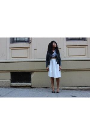 eggshell Charlotte Russe skirt - black leather jacket jacket - navy shirt