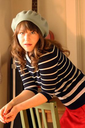 mint beret American Apparel hat - JCrew sweater - red wool Anthropologie skirt