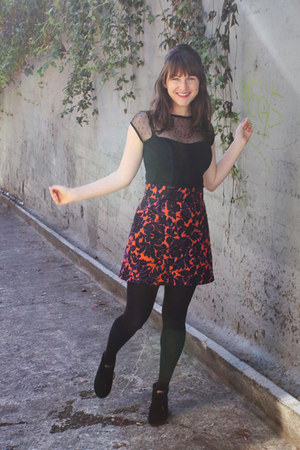 carrot orange handmade skirt - black TOMS boots - black Rock Steady shirt