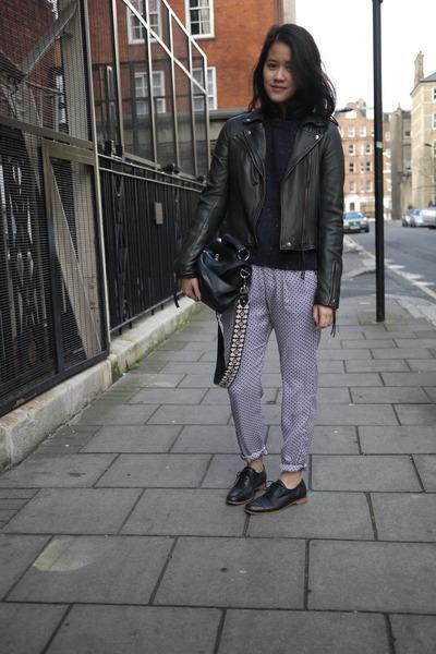printed pajama Zara pants - Topshop sweater - edie Mulberry bag