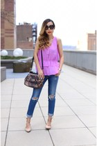 Top top - Jeans jeans - Bag bag - sunglasses sunglasses - Lace up flats flats