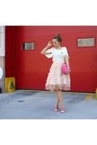 Skirt skirt - Bag bag - heels heels - Top top - Earrings earrings