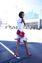 Skirt skirt - Blazer blazer - clutch bag - Earring earrings - Shoes heels