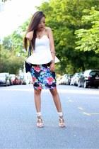 Bag bag - Skirt skirt - Heel sandals - necklace necklace - Top top