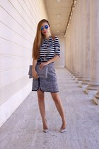 Skirt skirt - clutch bag - sunglasses sunglasses - heels heels