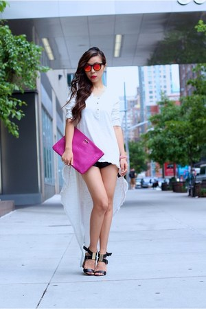 Top top - clutch bag - shorts shorts - sunglasses sunglasses - sandals sandals