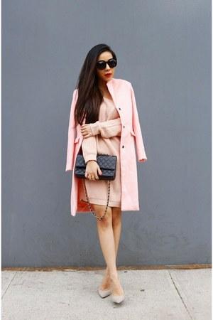 sweater dress sweater - coat coat - Bag bag - sunnies sunglasses - Shoes heels