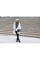 ruffle blouse blouse - boots boots - coat coat - beanie hat
