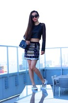 Bag bag - sunglasses sunglasses - Top top - slip on sneakers - Skirt skirt