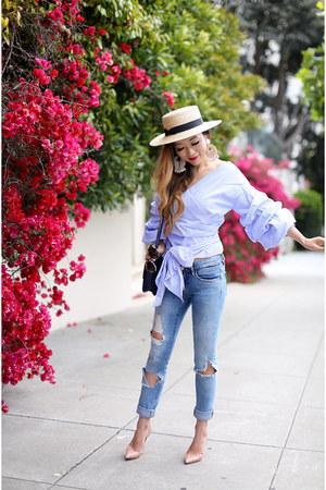 Top top - Jeans jeans - hat hat - Bag bag - heels heels - Earrings earrings
