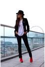 Hat-hat-blazer-blazer-sunglasses-sunglasses-pants-pants-tee-t-shirt
