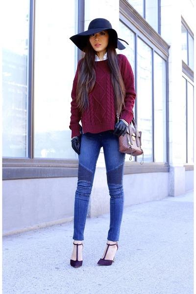 Sweater sweater - Jeans jeans - hat hat - Bag bag - heels heels - gloves gloves