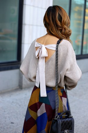 Bag bag - Skirt skirt - heels heels - necklace necklace - on sale Bow top top